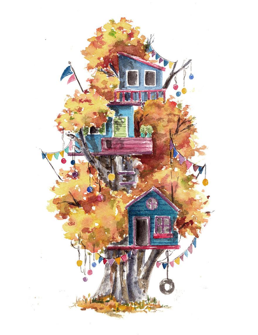 Sulu Boya Ile Yapılan Ağaç Ev Resimleri
