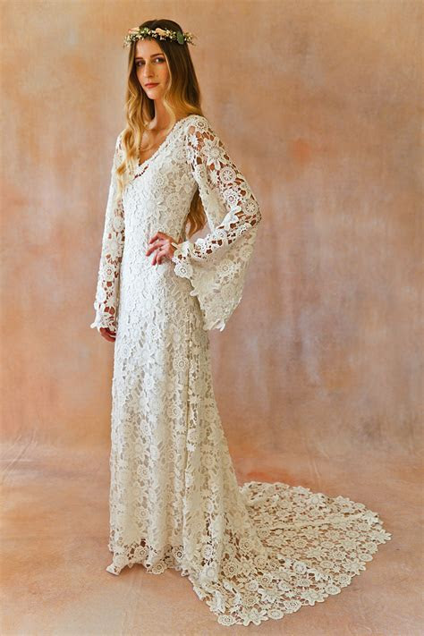 Boho Crochet Bell Sleeves Lace Gown   Dreamers and Lovers