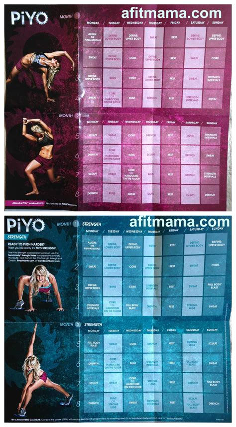 piyo workout schedule  calendar health workout