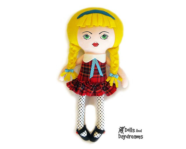 School girl Doll Sewing Pattern  copy face 3