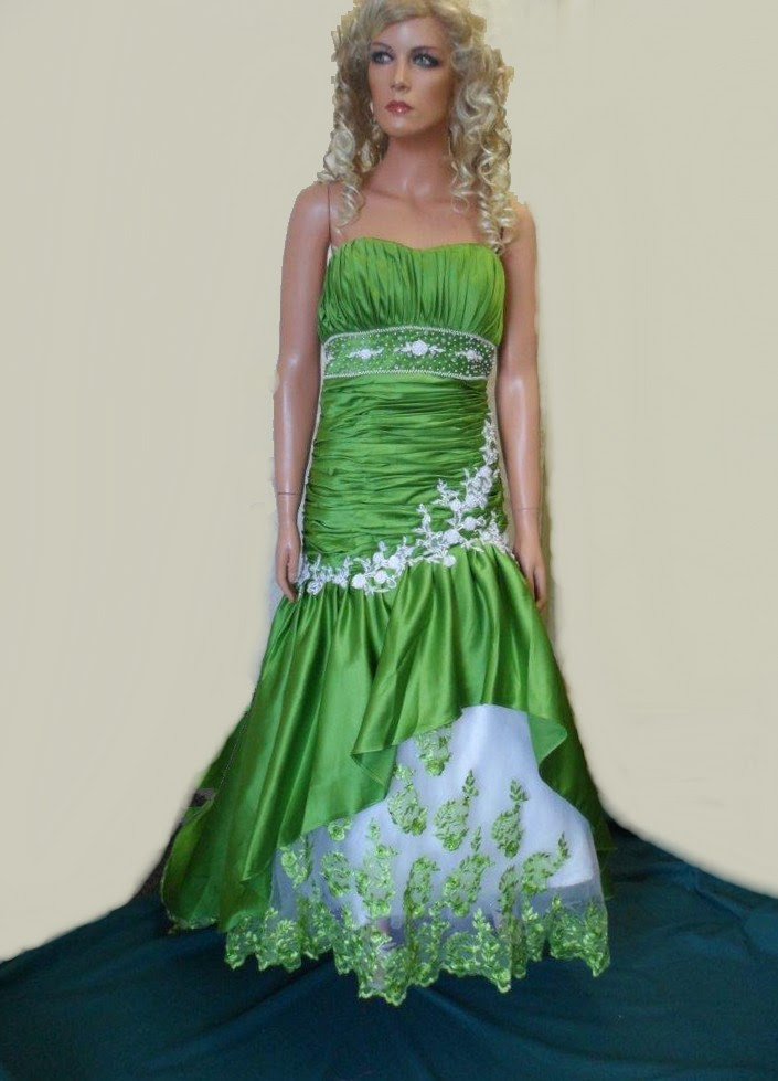 Green and white evening dresses