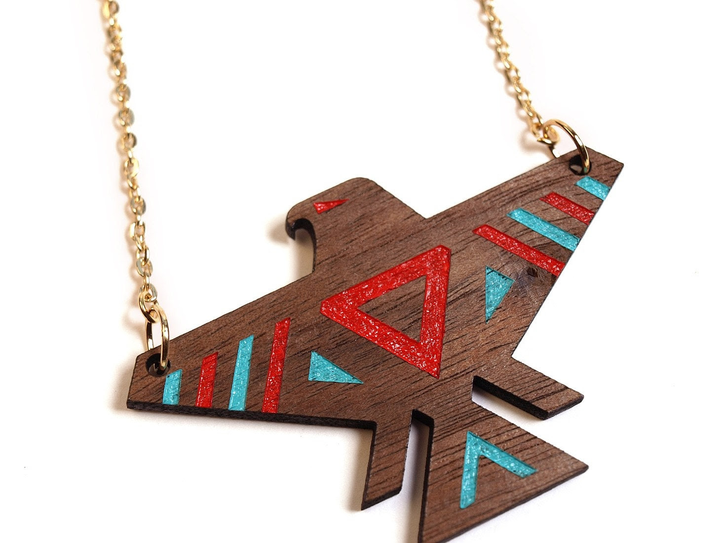 T-BIRD - Laser cut, walnut, thunderbird necklace, color