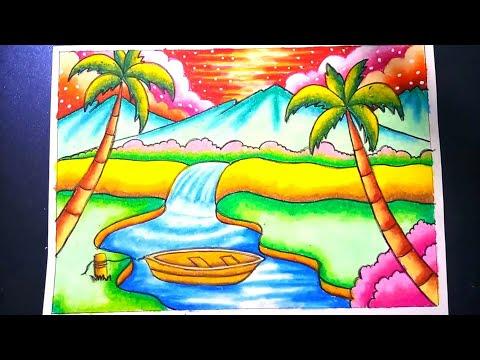 Menggambar Pemandangan Air Terjun Dan Gunung Drawing Scenery Of