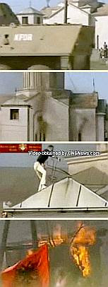 The burning of a church in Kosovo