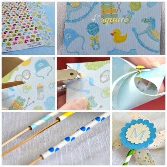 DIY Paper Pinwheels ~ Adorable Baby Shower Decoration! (she