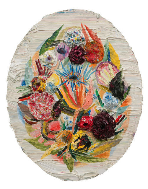 artnotartnot:  ALLISON SCHULNIKOval Flowers, 2011Oil on linen84 × 68 in213.4 × 172.7 cm