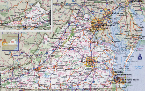 Large Detailed Roads And Highways Map Of Virginia State