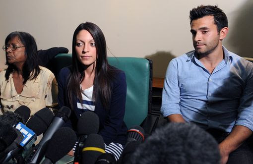 Meredith Kercher's mother Arline, sister Stephanie and brother Lyle hold a press conference in Perugia (Pic: AFP)