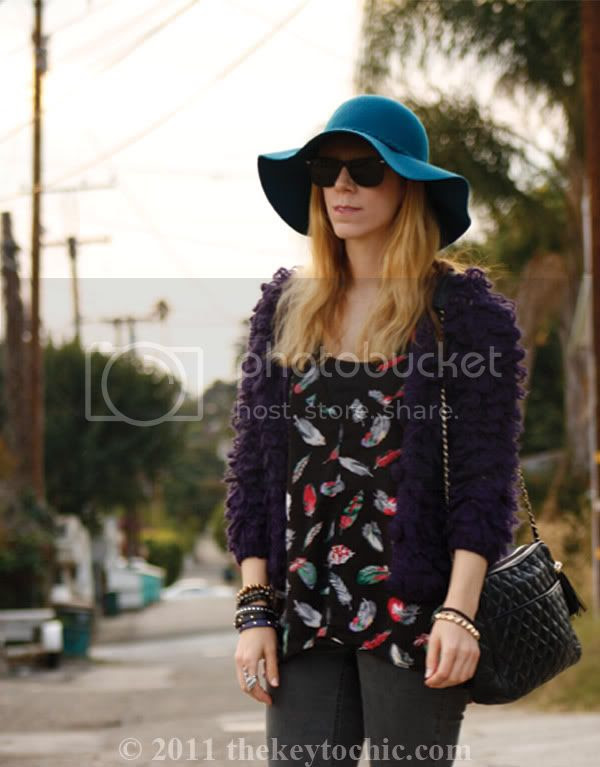 looped knit sweater, Cheap Monday jeans, feather print top, Sam Edelman Louie boots, floppy hat, California fashion blog