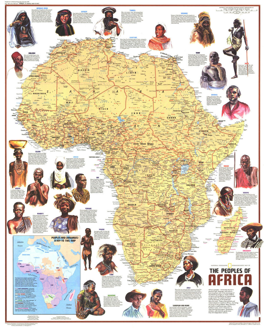 "Africa - Ethnolinguistic Map of the Peoples (1972) Published in December 1971 with the article ""The Zulus: Black Nation in a Land of Apartheid,"" this map is a supplement to the ""Heritage of Africa"" map printed in the same issue. Featuring a physical map with the names of groups and their languages, this map also contains beautiful illustrations and interesting facts about the diverse peoples that inhabit the continent. A varied look at the source of all African descendants world wide. Click here for a closer look"