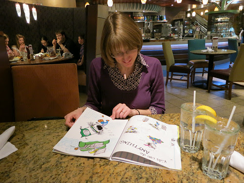 Andrea Mack browses my I'M BORED proofs