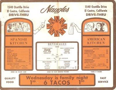 Naugles Menu 1971