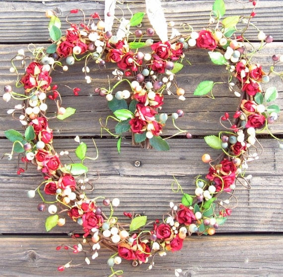 Heart Shaped Wreath for Valentines Day - Red Roses - door wreath - door decor