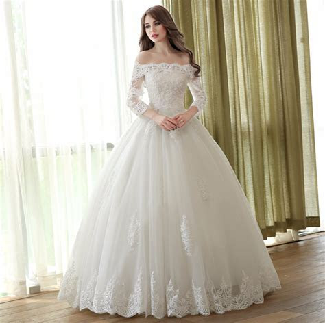 Off Shoulder Lace Ball Gown Wedding Dresses 3/4 Sleeve