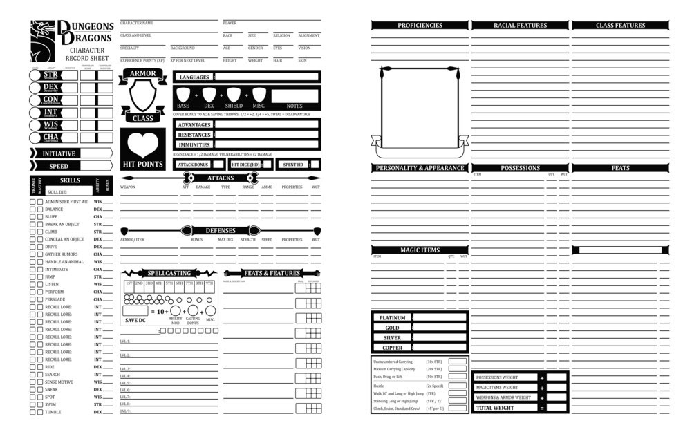 D D 5e Character Sheet Double Sided Printable: Printable 5e Character Sheet