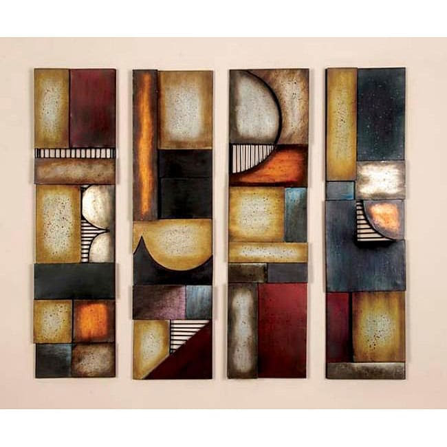 Geometric Multicolor Metal Abstract Wall Art Decor Plaques ...