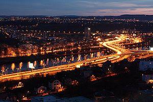 Prague - Barrandov bridge at night.