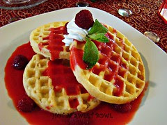 Waffle with Raspberry Sauce