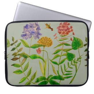 Botanical Illustration on Laptop Sleeve