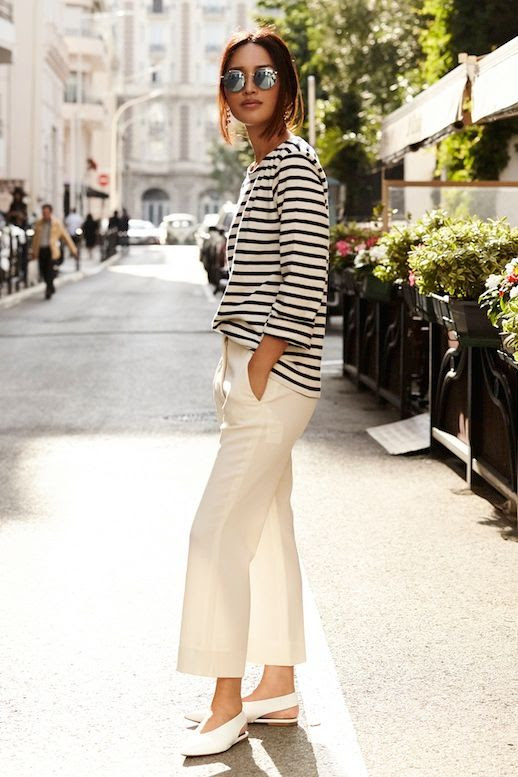 Le Fashion Blog Parisian Style Mirrored Sunglasses Striped Tee Cream Trousers White Pointed Toe Celine Flats Via Gary Pepper