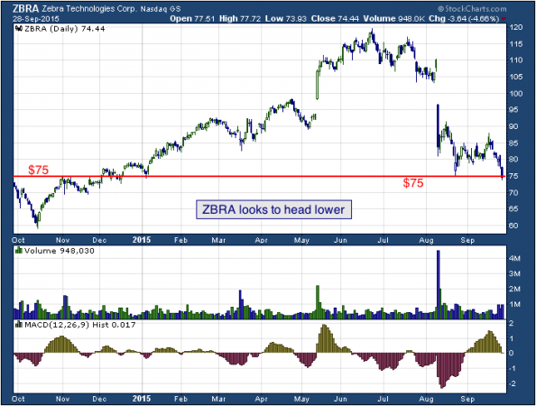 1-year chart of Zebra (NASDAQ: ZBRA)