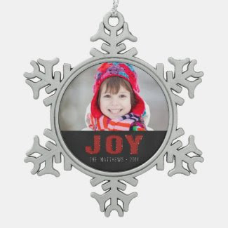 Chalkboard Photo Holiday Greeting | Red Joy Ornament