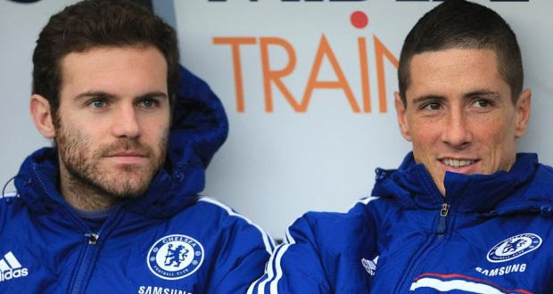 Juan Mata (left) is close to a club record transfer to Manchester United from Chelsea.  Photograph: Nick Potts/PA