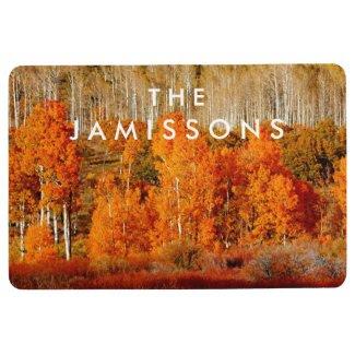 Two Rows of Aspen Seasonal Personalized Floor Mat