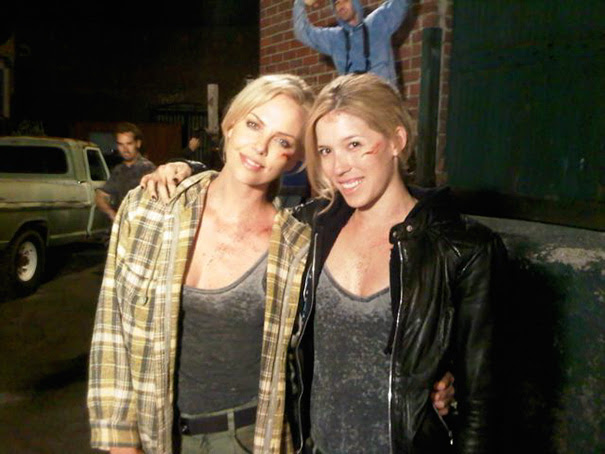 Charlize Theron And Her Stunt Double Alicia Vela-Bailey On The Set Of Brandon Flowers: Crossfire