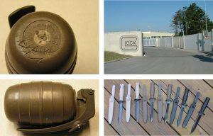À esquerda temos duas granadas de manejo fabricadas pela Glock. à direita, na parte superior, vemos a entrada da fábrica em Deutsch-Wagram. E na parte iferior algumas facas de trincheira e de campo, também fabricadas por eles.