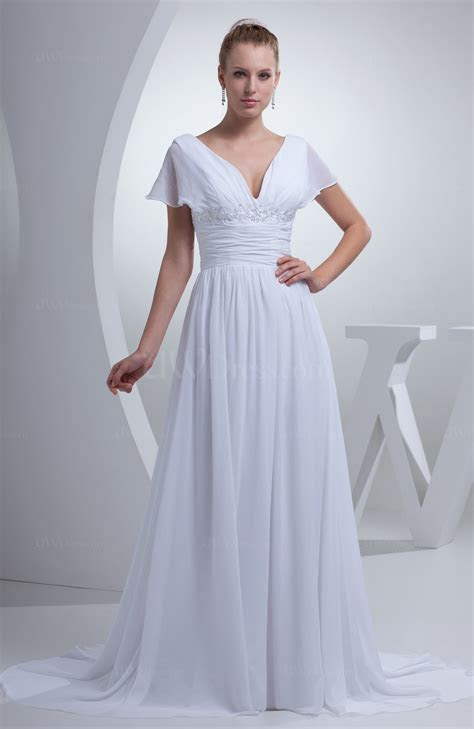 White Plain Hall A line V neck Short Sleeve Chiffon Court