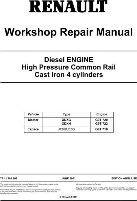 RENAULT DIESEL ENGINE MASTER ESPACE SERVICE REPAIR MANUAL