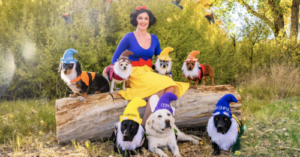 Woman And Her 7 Dogs Become Snow White And The 7 Dwarves For Halloween!