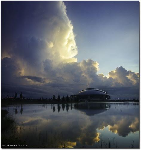 vertorama landscape - Terengganu Sports Complex in the morning