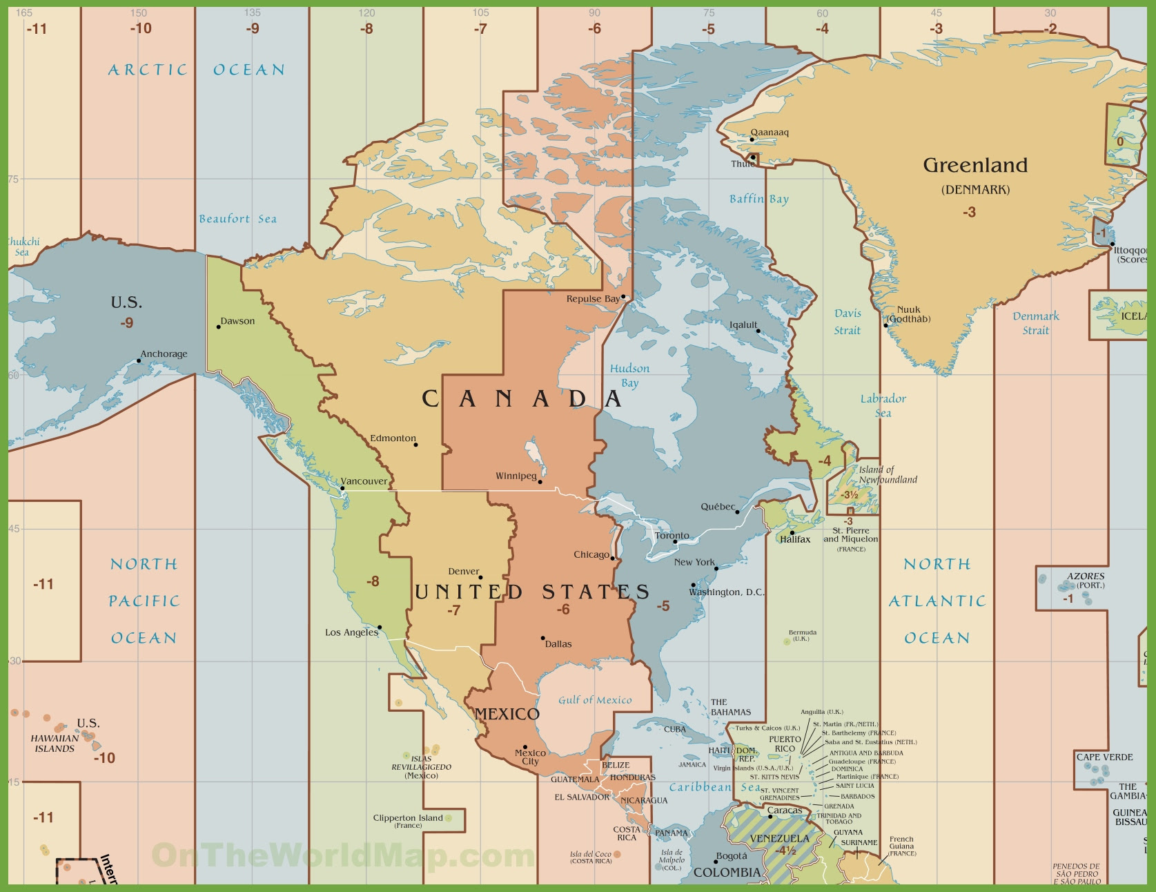 Time Zones Map: Printable Time Zone Map North America