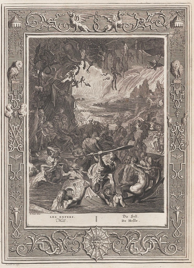 Bernard Picart's engraved mythological scene of hell with human misery all around