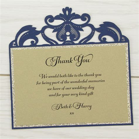 Farrah Glitter Thank you Card   Pure Invitation Wedding