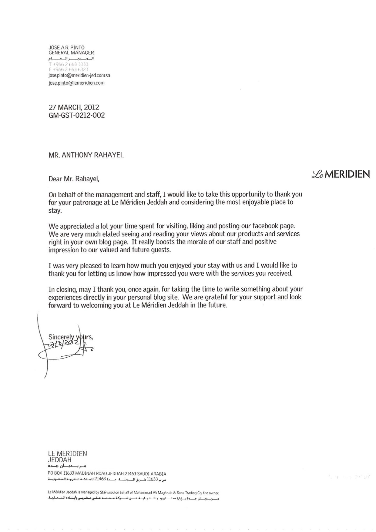 A Thank You Letter From Le Meri N Jeddah