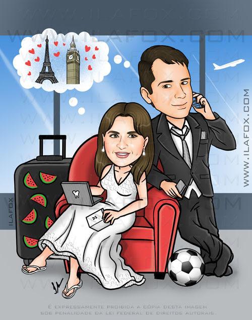 Caricatura casal, noivos, no aeroporto, esperando vôo, cariactura para casamentos, by ila fox