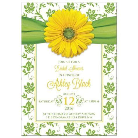 Yellow Daisy Green Floral Bridal Shower Invitation   Green