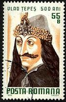55 Bani Romanian postage stamp from 1976: 500th anniversary of Vlad the Impaler's death