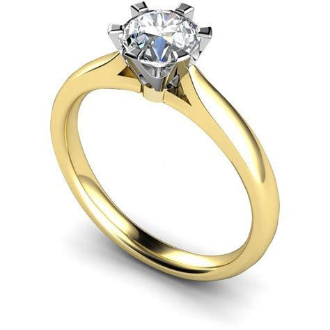 HRR502 6 Claw Crown Set Solitaire Ring   Shining Diamonds