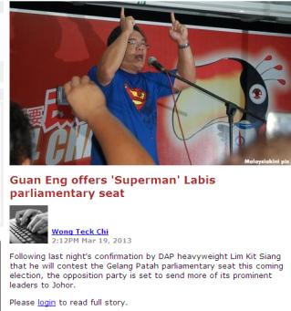 Guan Eng offers 'Superman' Labis parliamentary seat