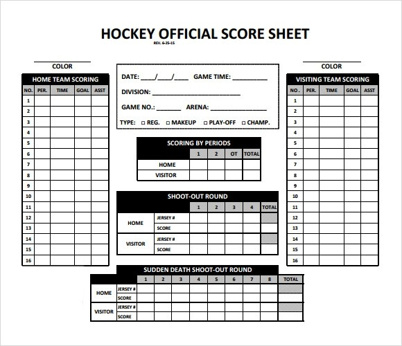 Hockey Score Sheet. College Hockey Scoreboard Template Pdf Free