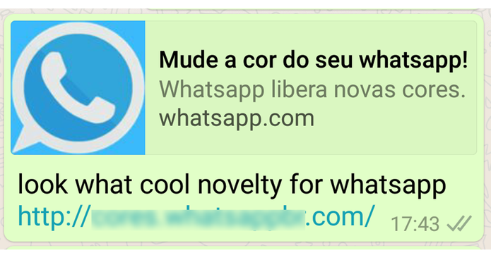 Link fraudulento é compartilhado por mensagens do WhatsApp (Foto: Reprodução/Psafe)