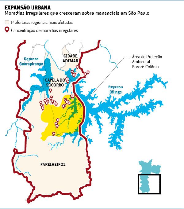 Bilings - Mapa da represa. Imagem: Nossa São Paulo