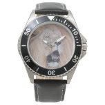 lion roaring big cat wildlife realist art wristwatches