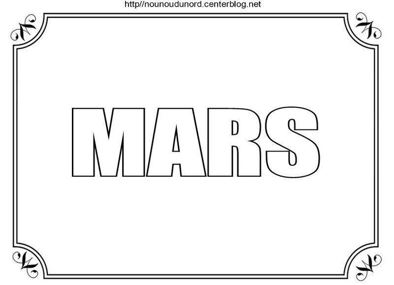 Mois De Mars à Colorier à Gommettes Et En Couleur