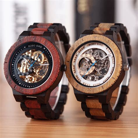 mens luxury wooden  automatic movement