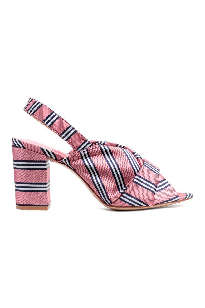 Satynowe sandały - Różowy/Paski - ONA | H&M PL 1